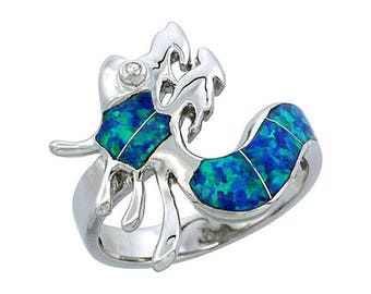 Sterling Silver Blue Opal Dragon Statement Ring