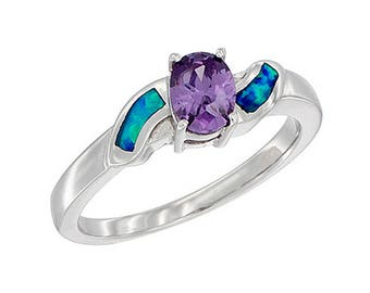 Sterling Silver Blue Opal Solitaire Ring Amethyst