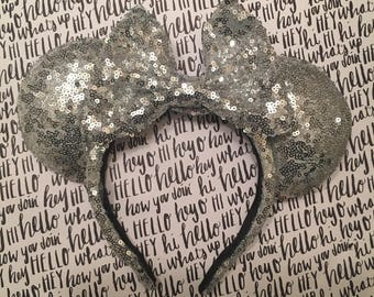 Silver Sequin Minnie Ears