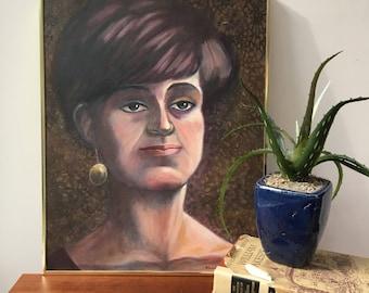 Vintage Mid Century Modern Original Portrait Painting, Mid Century Modern Lady Portrait, Vintage Original Oil Painting