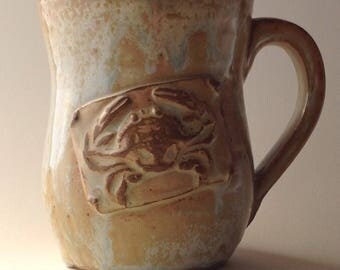 12 ounce Oooops. Antique White Crab Ceramic Mug!