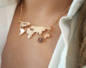 World map necklace etsy delicate world map necklaceworld necklacescity necklaceinitial coin necklaceslayering gumiabroncs Image collections