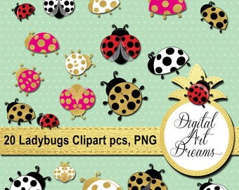 Ladybugs Clip Art PNG, Cute Ladybug Black and White, Gold Ladybirds Images, Bug Silhouette, Ladybird Printables, Scrapbook Image Download