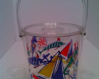 Vintage Lucite Ice Bucket With Nautical Print liner and Tongs