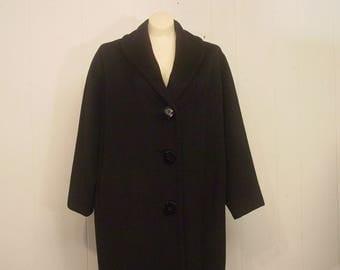 Vintage coat, womens coat, Lilly Ann coat, 1950s coat, cashmere coat, Rockabilly coat, vintage clothing, Large