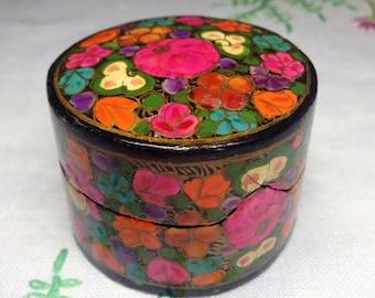 Hand Painted Trinket Box, Floral Trinket Box, Papier Mache Trinket Box, Lacquered Box, Round Shaped Papier Mache Trinket Box