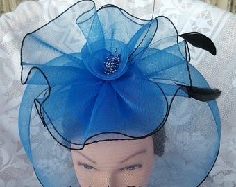 Royal Blue Sinamay Fascinator with Feathers, OOAK, Races Hat, Derby Hat, Melbourne Cup, Derby Hat, Wedding Hat, Ascot Races Hat