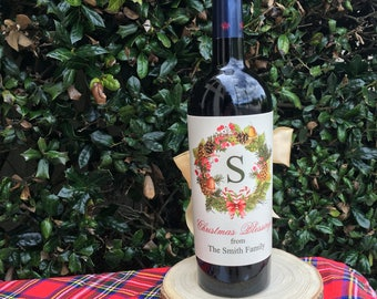 Personalized Wine Wrappers, Winter Wreath