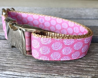 "Pink Roses 1"" Wide Dog Collar, Roses Dog Collar, Pink Dog Collar, Dog Leash, Nylon Webbing Dog Collar, Silver Hardware"