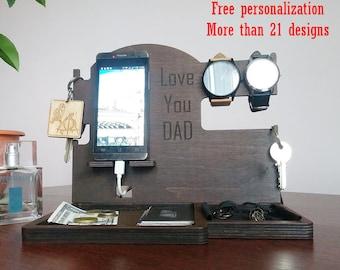 Engraving gift Docking Station Men Personalization Docking Station Dad Organizer Docking Stand Wood Docking Station Wooden stand for iphone