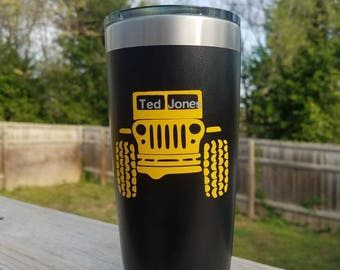 Powder coated stainless steel tumbler inspired by jeeping,  YJ, TJ, JK