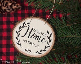 Rustic Wood Slice Christmas Ornament - Personalized Christmas Ornament - Painted Ornament - Hand Painted Wood Ornament - First Home