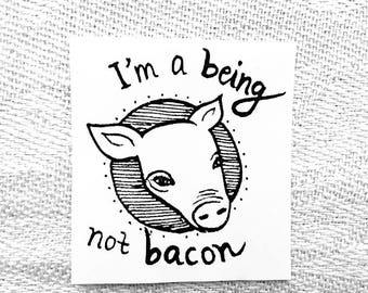 Vegan Stickers (Being Not Bacon) / Black and White / 24 Stickers