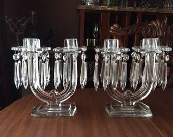 PAIR Heisey Glass New Era Art Deco Clear Candelabra w/ Square Prism Bobeches