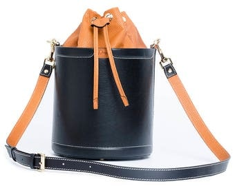 Genuine Leather Black cylinder Handmade bag