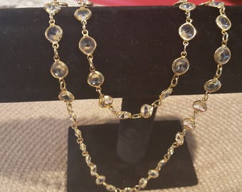 Vintage gold tone and clear bead necklace