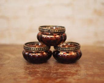 Trio of Miniature Glass Tealight Holders