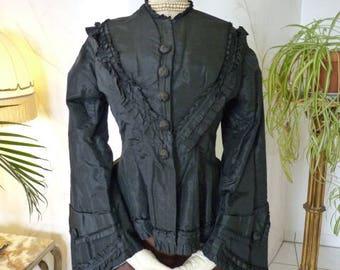1870 Bodice, Bustle Gown, antique Dress, antique Gown, Victorian Dress