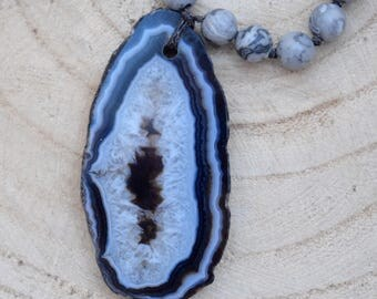 Black and Gray Agate Boho Beaded Necklace