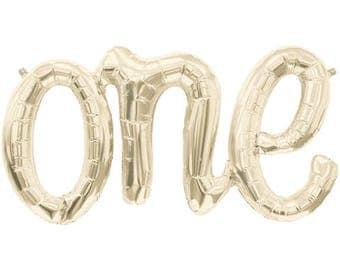 ONE White Gold Script Banner Foil Balloon (Air-Fill)