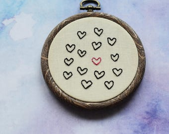 """Heart Valentine's embroidery hoop art in 3"""" hoop. Home decor; embroidered art"""