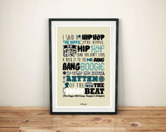 """Deco poster poster collection """"lyrics"""" The Sugar Hill Gang - Rapper's Delight A3 size"""