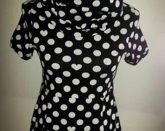 Shirt rockabilly rockabella dots hearts Wonderland black