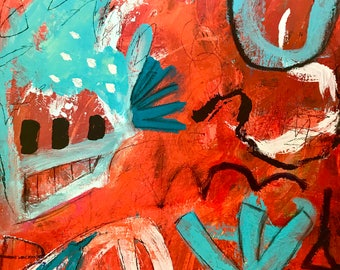 Original Abstract Art on Paper, modern home decor, painting