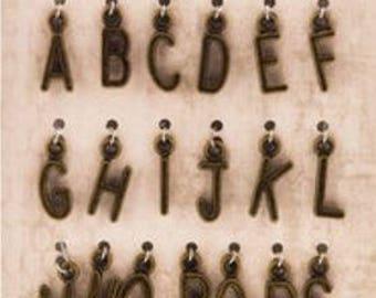 The Paper Studio | Spare Parts | Alpha Charms - 26 PC | Choose Antique Gold or Copper