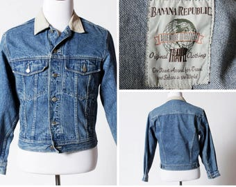 Vintage Banana Republic Jean Jacket Denim Leather Collar - 80's Retro Small S
