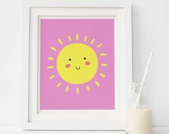 Girls wall prints, pink sun, SALE Nursery Prints Girl, Nursery Wall Art, Girls Bedroom Nursery Posters, Baby Girl Wall Print, Printed Dreams