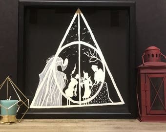Deathly Hallows Tail of the Three Bothers Harry Potter Theme Hand Painted Shadow Box Piggy Bank