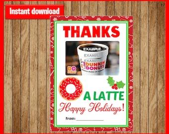 Teacher Gift Card Holder Christmas - Thanks A Latte - Printable - Instant Download
