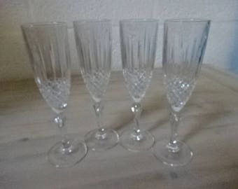 Set of 4 Cristal De France Champagne Flutes/Barware/Wedding/Anniversary/Retirement/Bridal Shower/Birthday/Christmas/New Year/Vintage