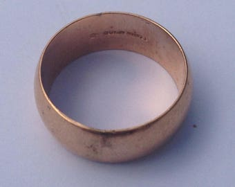 Genuine Vintage 1930's gold filled wedding band size 8 1/2, gold shell, antique wedding band