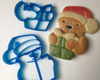 Santa Bear with Gift Cookie Cutter Set