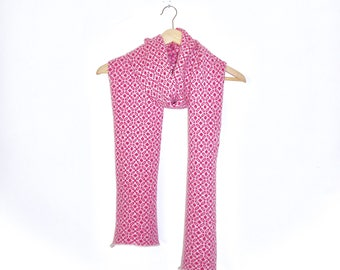 Long length wrap scarf knit in 100% supersoft lambswool. Various colours and patterns!