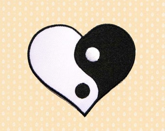 Love Heart Yin Yang Symbol Iron On Patch Embroidered Sew On Apllique DIY Jeans Patches