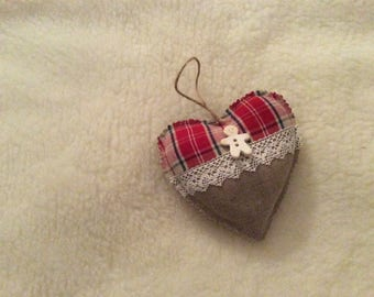 Fabric hanging heart, made by hand