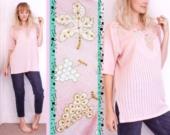 Vintage, Pastel Jumper, Pink, Top, Beaded, Evening, Oversized, Sweater, Floral, 80s, New Years, Party, Womens, UK, 6, 8, 10, 12, 14, 16