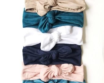 Solid Bow Grab bag, headwrap, headband, neutral bow, newborn bow, baby headband