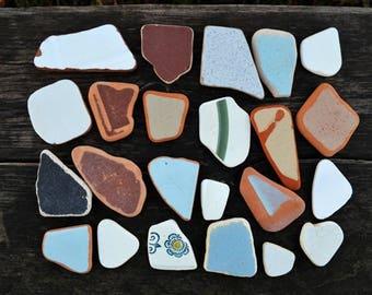 Colored Sea Tile Mosaics Sea Pottery Genuine Beach Pottery Sea Tile Craft Terracotta Clay sea pottery Sea Pottery Shards Genuine Sea Pottery