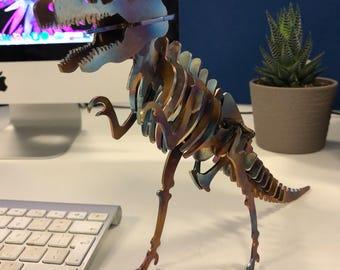 T-Rex Stainless Steel Dinosaur thermally coloured, desk sculpture, geek, office, gift for him, dinosaur gift, boyfriend, val