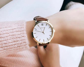 Womens Gold Watch - Brown Leather Watch - Minimalist Watch - White Dial - Third Anniversary Gift - Leather Anniversary - Gold Womens Watch