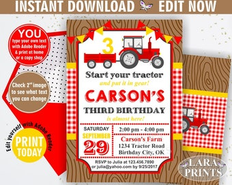 INSTANT DOWNLOAD / Birthday Invitation / Tractor / Birthday Invite / Yellow / Woodland / Red / Plaid / Boy / Farm / BDT4
