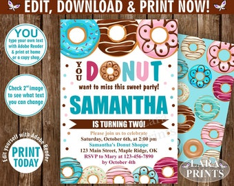 INSTANT DOWNLOAD / edit yourself now / Birthday / invite/ Invitation / Donut / Party / doughnut / girl / pink / blue teal / BDonut3