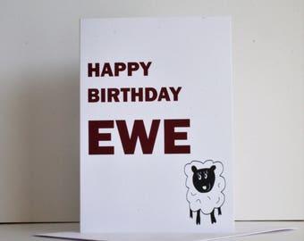 Funny ewe birthday card, Happy birthday ewe, ewe card, ewe birthday card, ewe joke card, happy birthday to ewe
