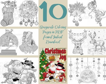 Coloring Book Christmas Joy Pages For Adults Grayscale Instant Download Printable