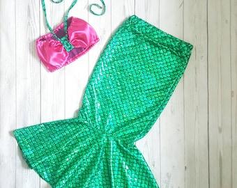 Mermaid tail skirt, girls mermaid outfit, fish scale dress, mermaid dress up, little mermaid skirt, girls maxi skirt
