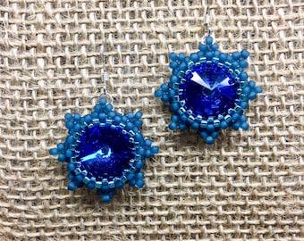 Bermuda Blue | Beaded Crystal Star Earrings